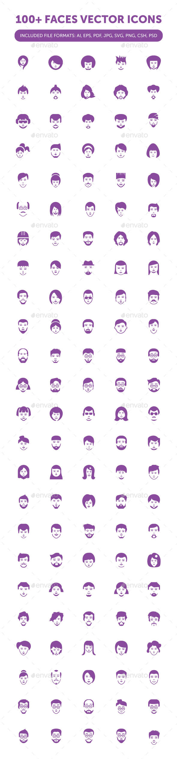 100+ Face Icons - People Characters