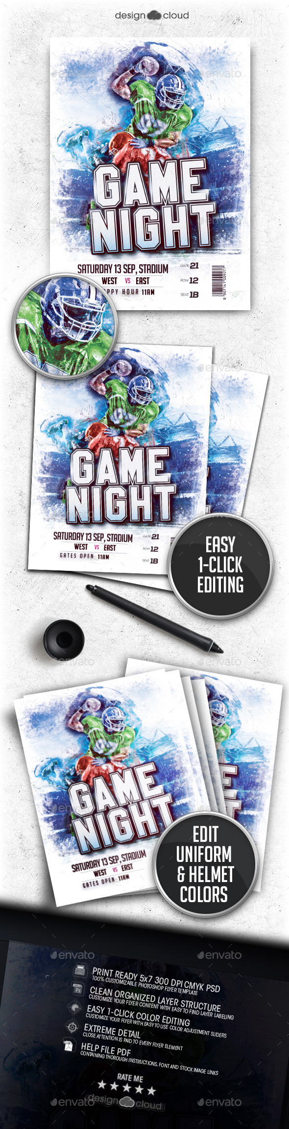 Football Game Night Flyer Template Vol 3