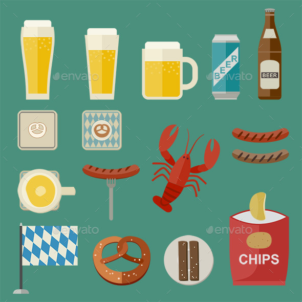 Beer and Snacks Icons - Food Objects