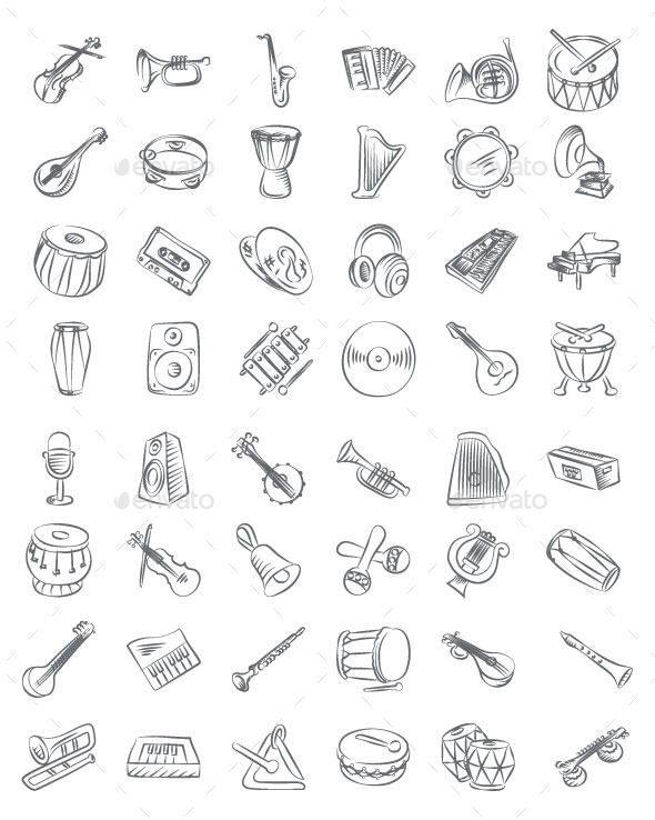 Music Hand Drawn Icons - Objects Icons