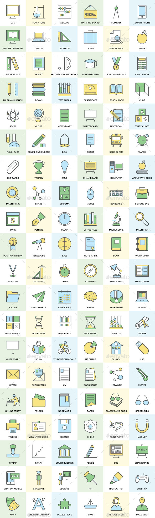100+ School and Education Icon Set - Icons