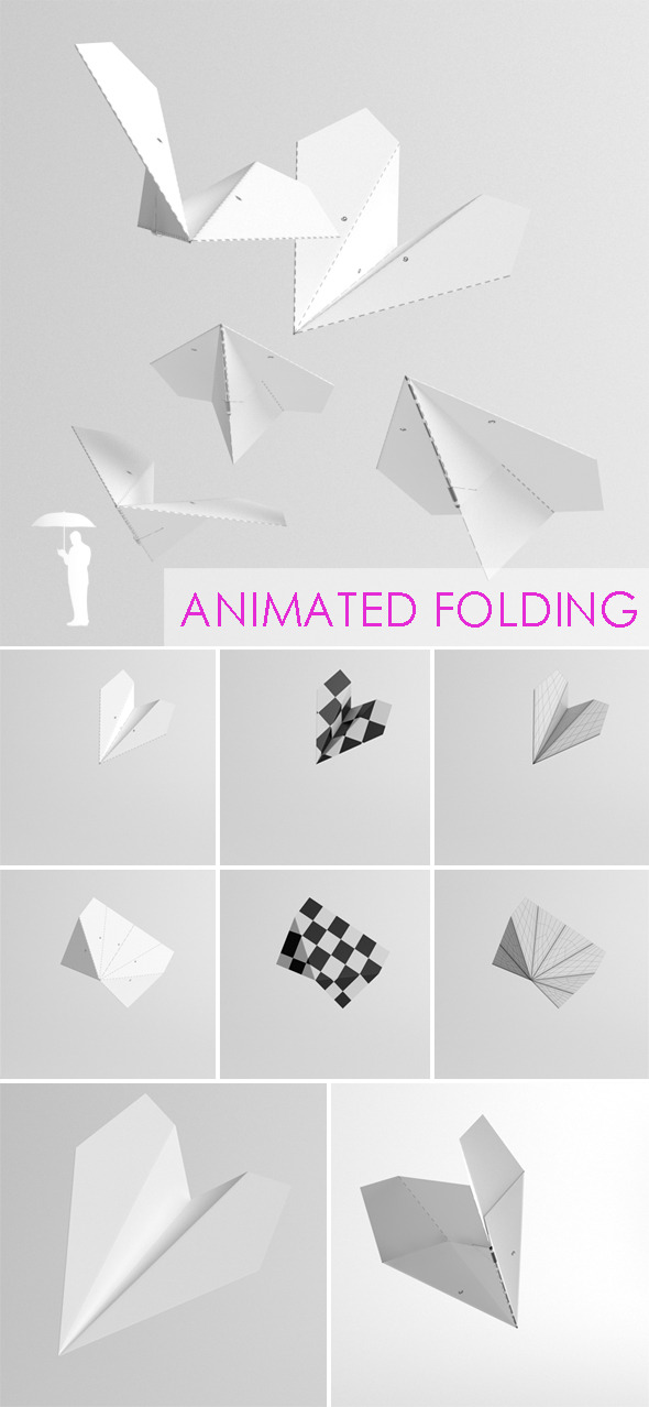 Folding Paper Plane animation - 3DOcean Item for Sale