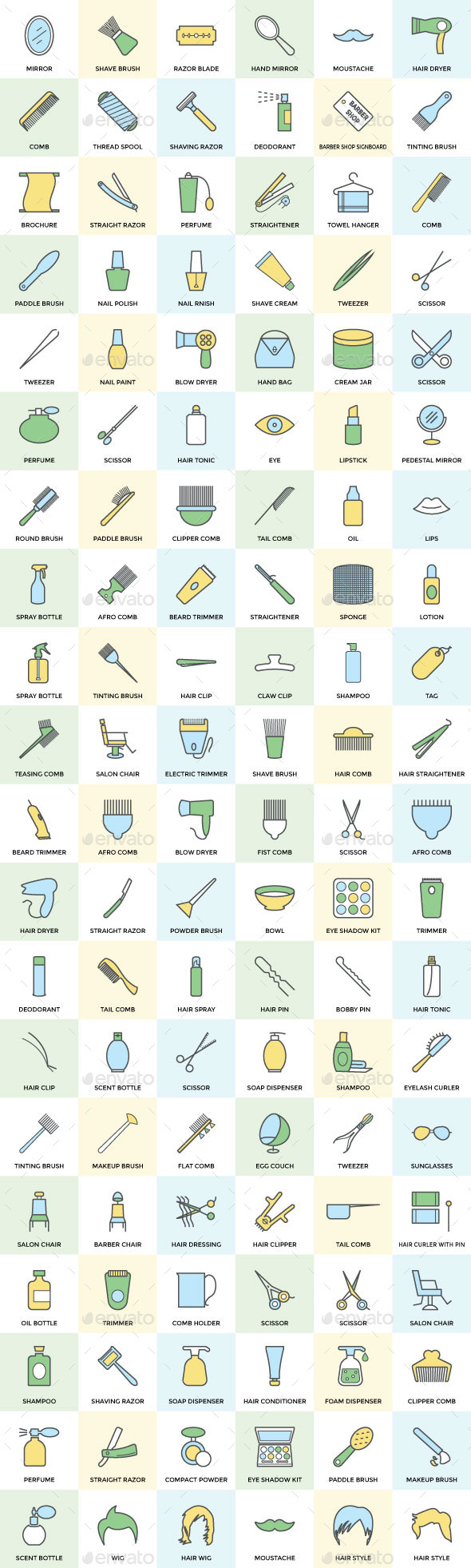 100+ Hair Salon or Barber Icons Set - Icons