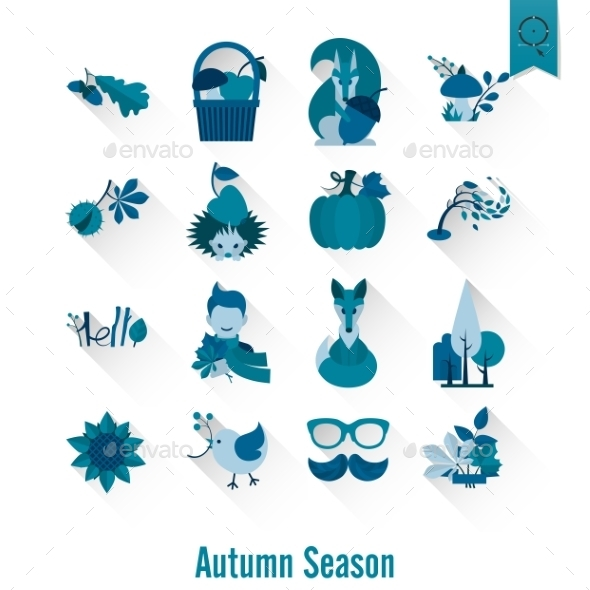 Set Of Flat Autumn Icons - Seasons Nature