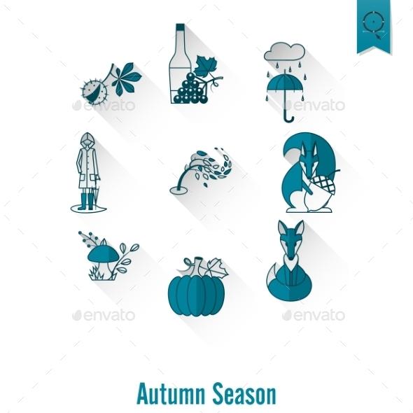 Set Of Flat Autumn Icons - Seasons Nature