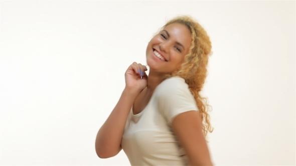 Happy Overjoyed Woman Celebrating Successful