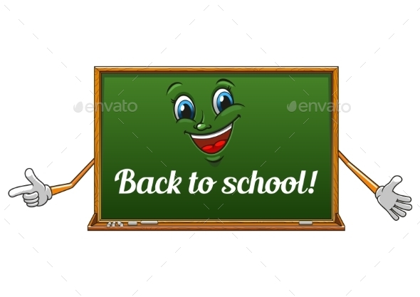 Cartoon Isolated School Blackboard Icon - Monsters Characters