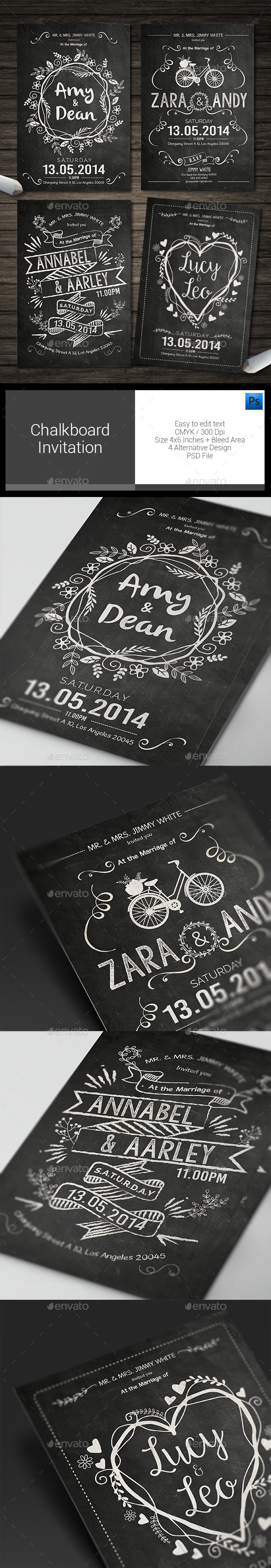 Chalkboard Invitation - Weddings Cards & Invites