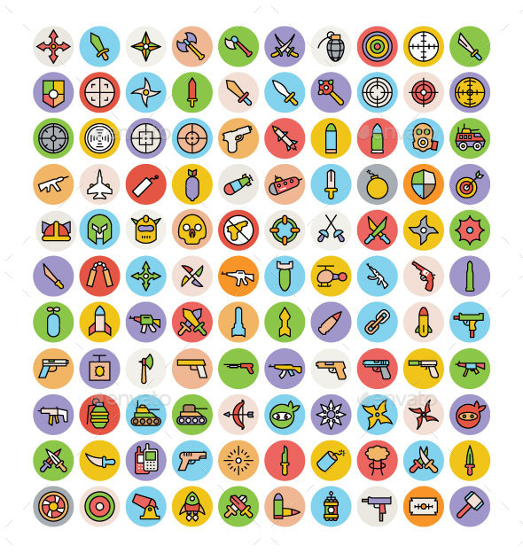 100+ Weapon Icons Set - Icons