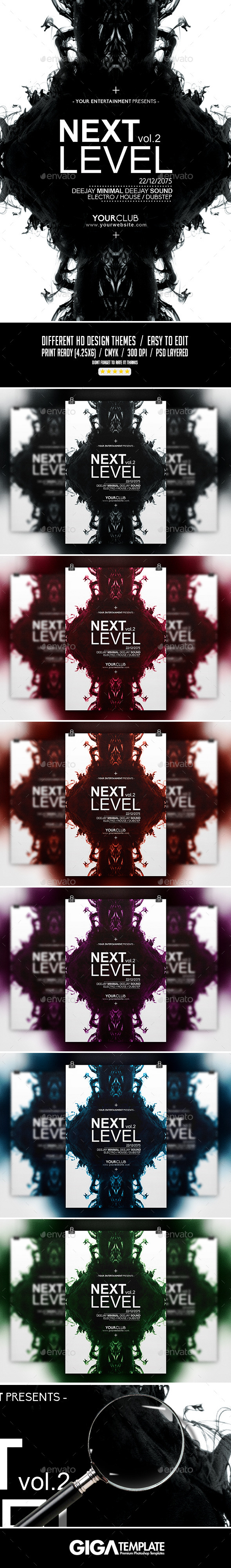 Next Level Vol.2 Minimalist Flyer PSD Template