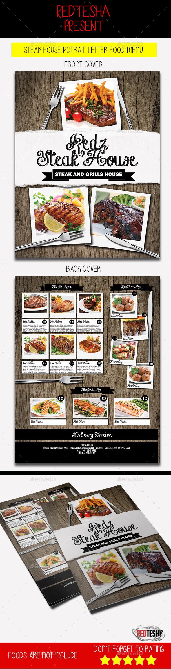 Steak House Potrait Letter Food Menu - Food Menus Print Templates