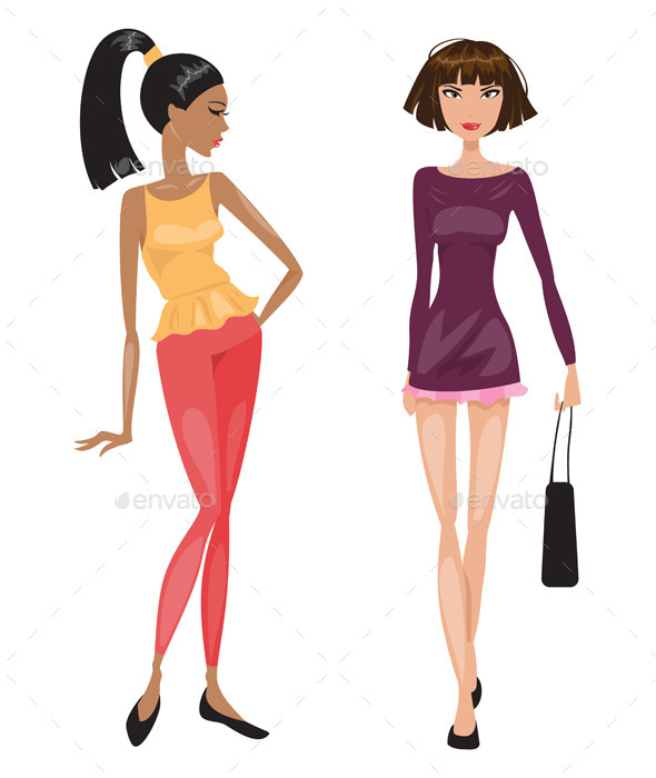 Two Young Fashionable Woman - People Characters