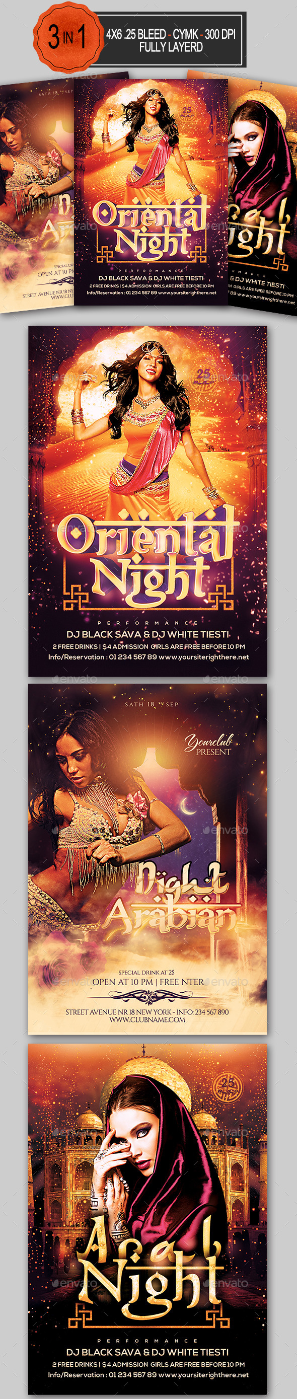 Arabian Nights Flyer Bundle - Clubs & Parties Events