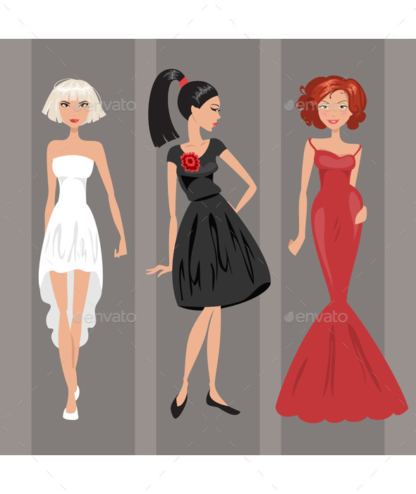 Women in Evening Dresses - People Characters
