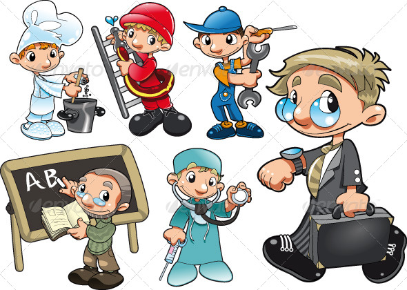 Types of Workers. - People Characters
