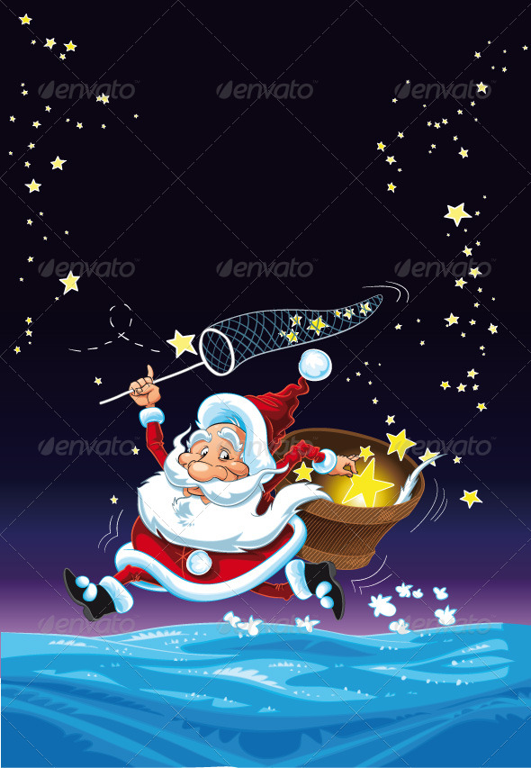 Santa Claus and the Stars.  - Christmas Seasons/Holidays