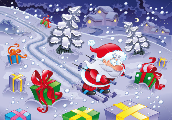 Santa Claus skiing in the night - Christmas Seasons/Holidays