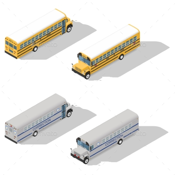 School and Prison Buses Isometric Icon Set - Miscellaneous Conceptual