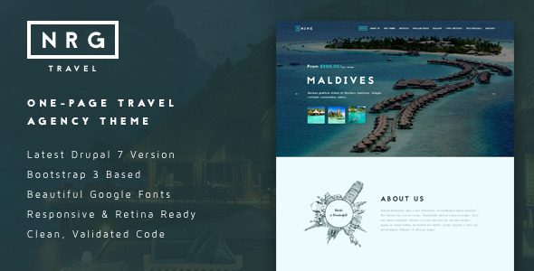NRGtravel One-Page Travel & Tour Agency Theme