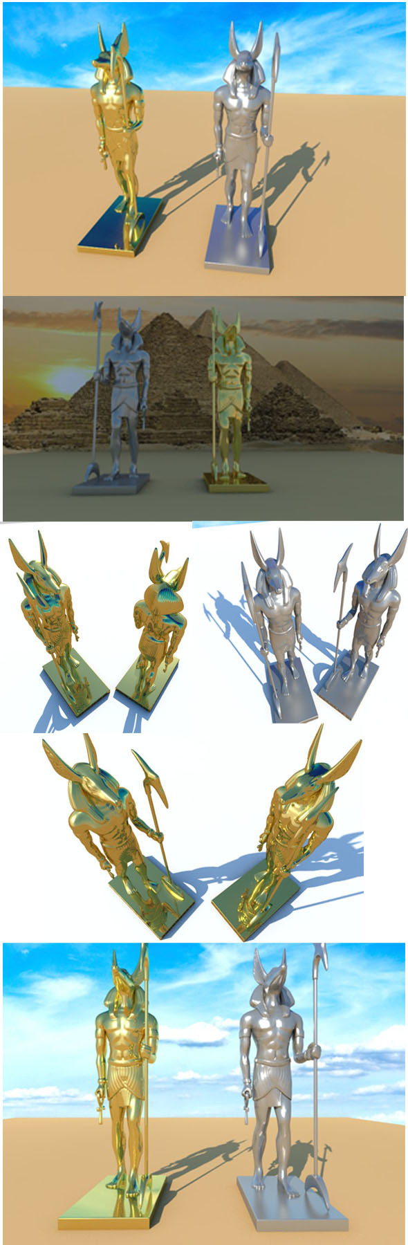 Anubis golden & silver Statue - 3DOcean Item for Sale
