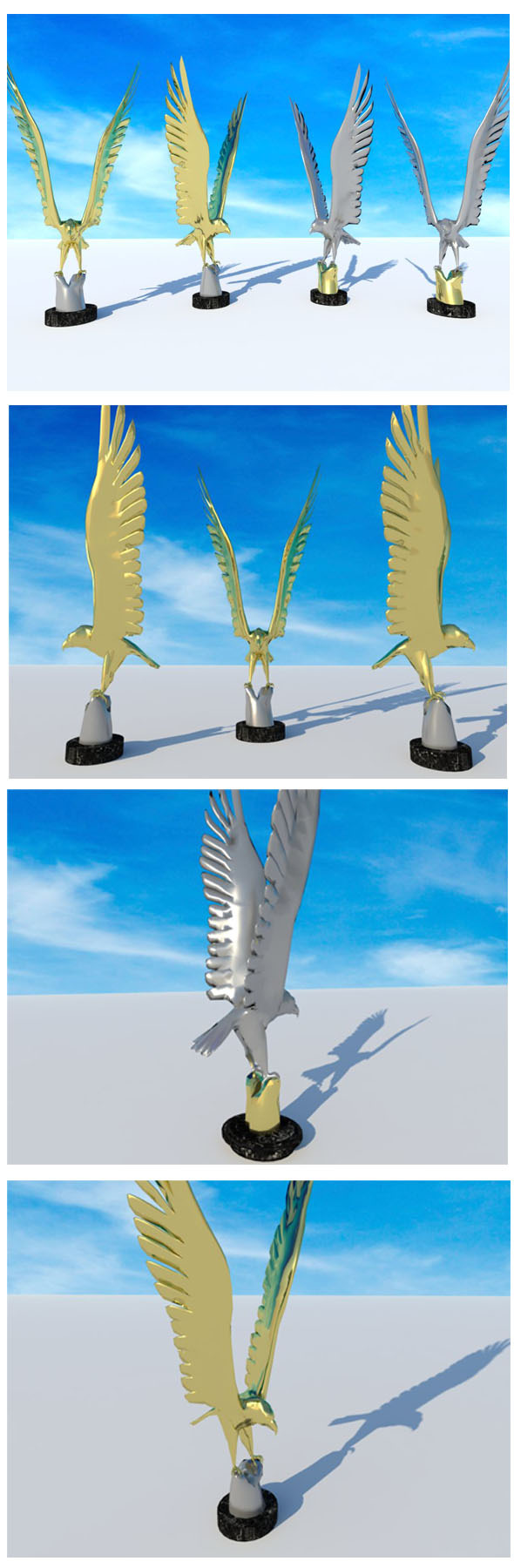 Eagle -bird- golden & silver Statue - 3DOcean Item for Sale