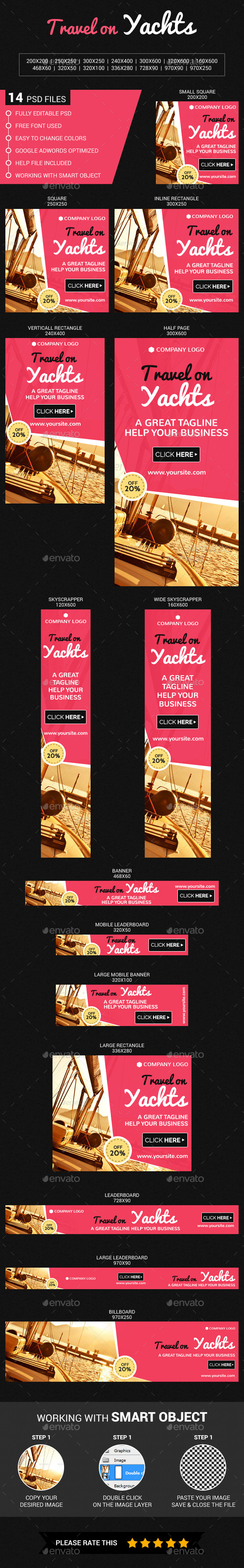 Travel on  Yachts - Banners & Ads Web Elements