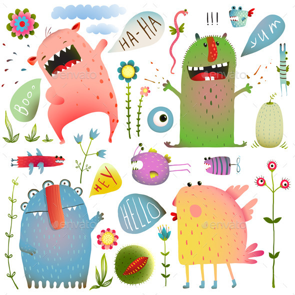 Monsters for Kids Design Colorful Set