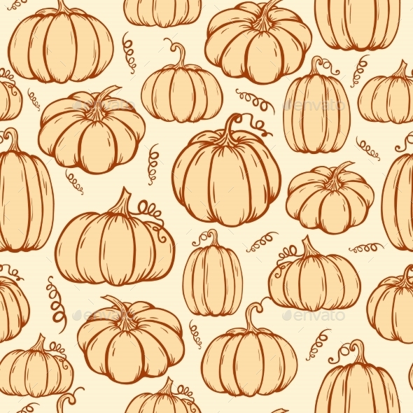 Pattern Of Pumpkins - Backgrounds Decorative