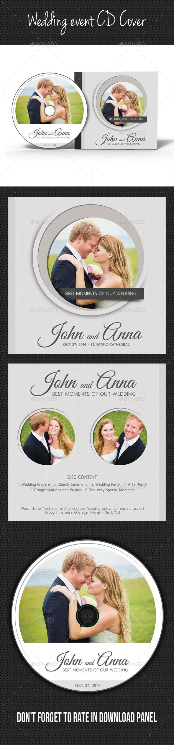 Wedding Event CD Cover V12 - CD & DVD Artwork Print Templates
