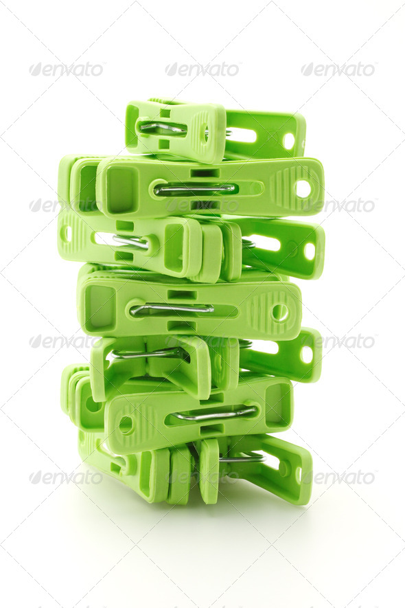 Plastic cloth pegs tower - Stock Photo - Images