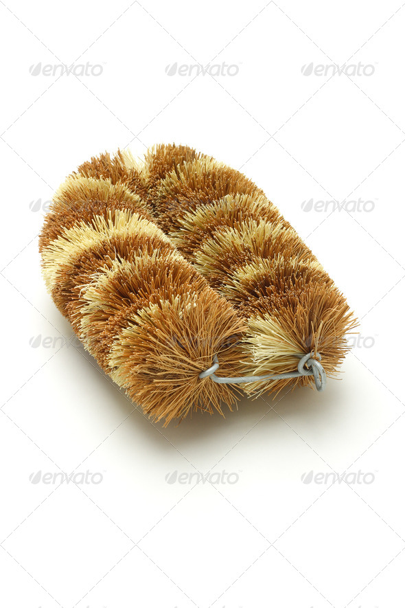 Natural coconut fiber brush - Stock Photo - Images