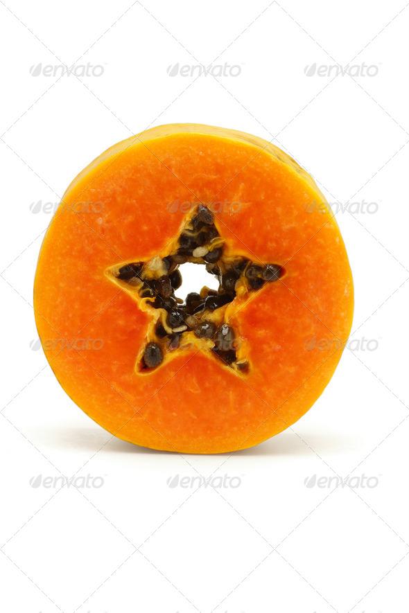 Slice of juicy papaya fruit - Stock Photo - Images