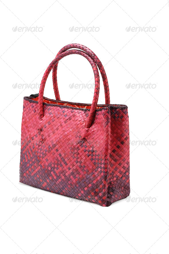 Woven plam leaf hand bag - Stock Photo - Images