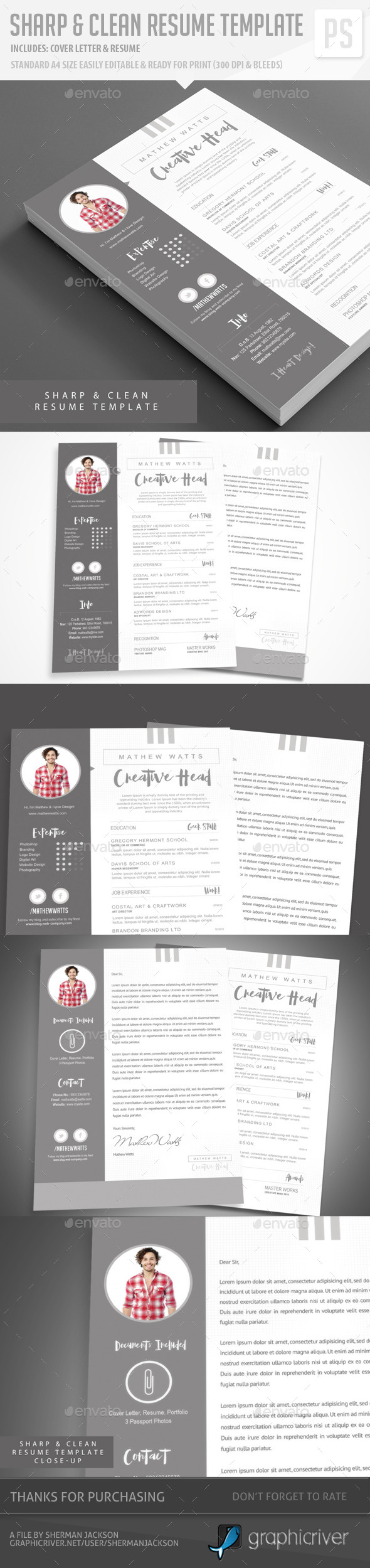 Sharp & Clean Resume for Photoshop - Resumes Stationery