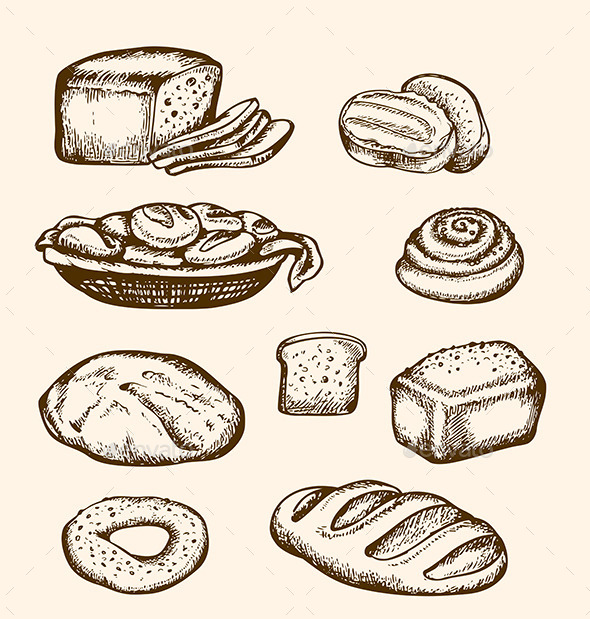 Hand Drawn Bakery - Food Objects