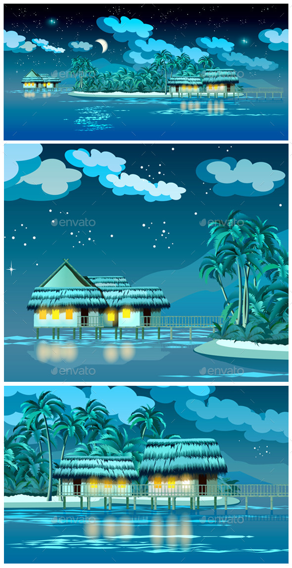 Paradise Islands at Night - Travel Conceptual
