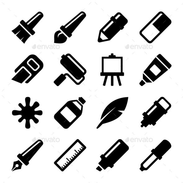 Art Icons Set. Vector - Web Icons