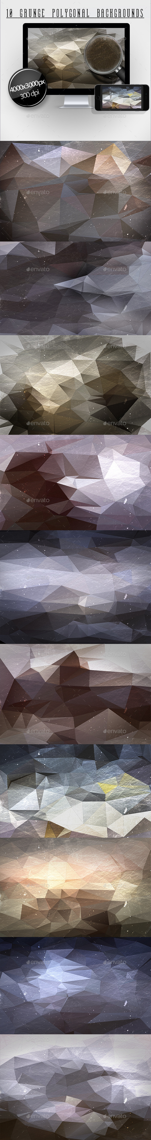 10 Grunge Polygonal Backgrounds - Abstract Backgrounds