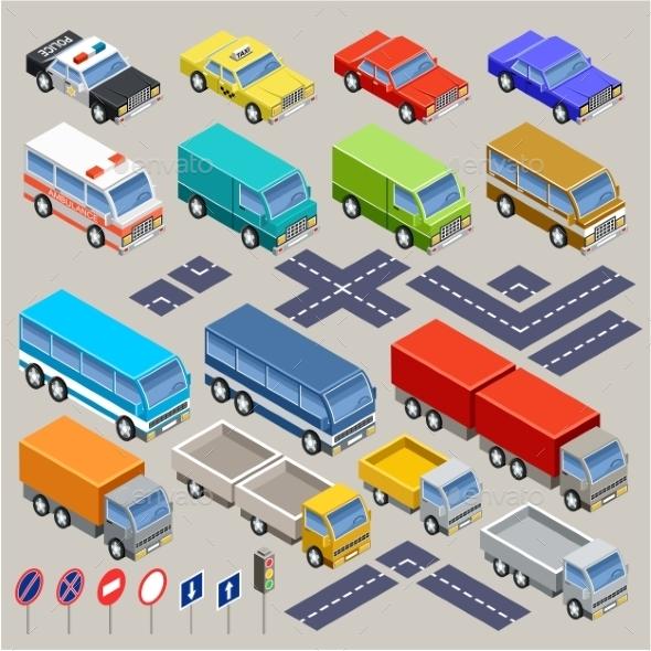 Isometric Road Set - Travel Conceptual