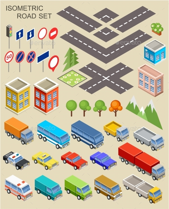 Isometric City Set - Buildings Objects