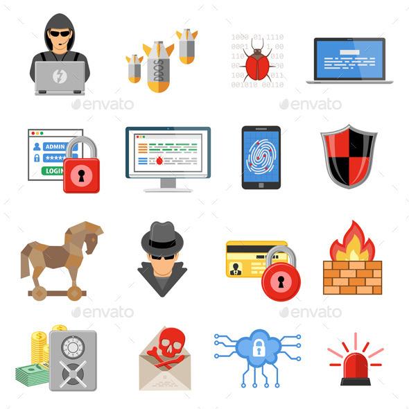 Internet Security Flat Icon Set - Web Technology