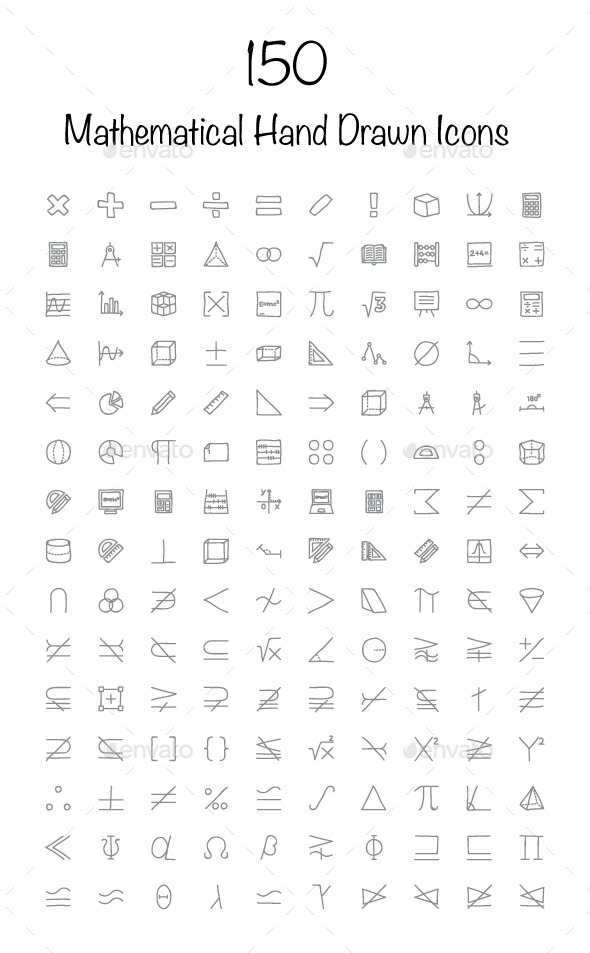 150 Mathematical Hand Drawn Icons - Icons