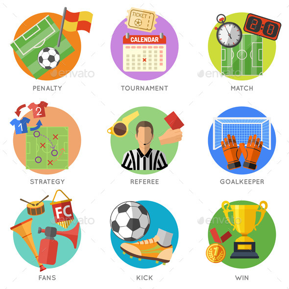 Soccer Flat Icon Set - Sports/Activity Conceptual
