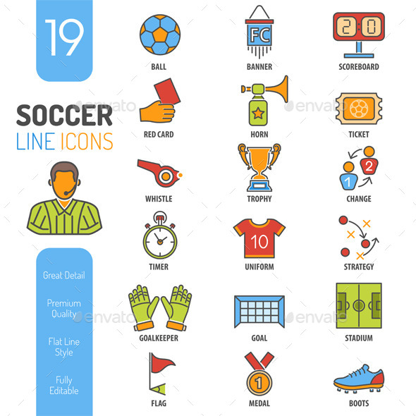 Soccer Thin Lines Color Web Icon Set - Sports/Activity Conceptual