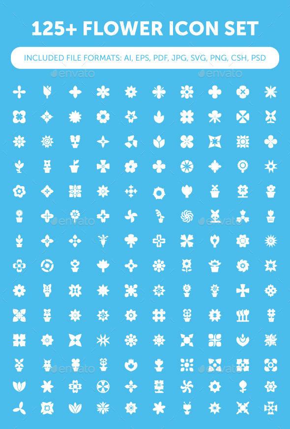 125+ Flower Icon Set - Seasonal Icons