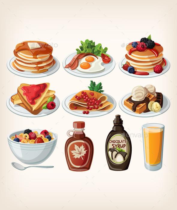 Classic Breakfast Cartoon Set - Food Objects