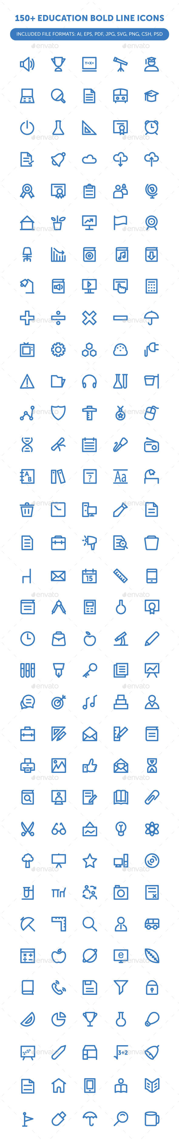 150& Education Bold Line Icons
