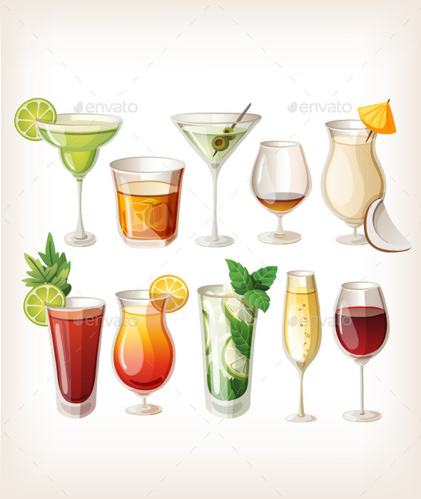 Collection of Alcohol Cocktails and Drinks - Food Objects
