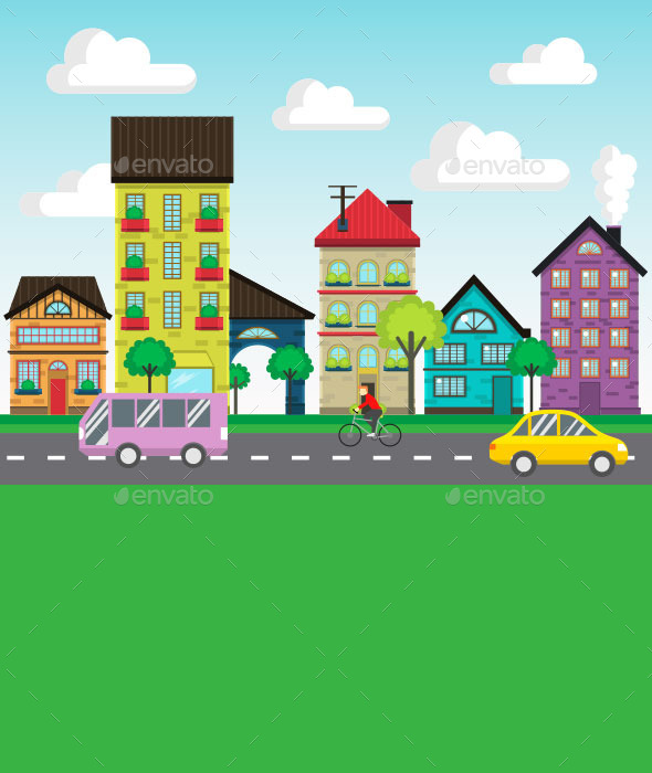 Colorful Houses on the Street Vector - Buildings Objects