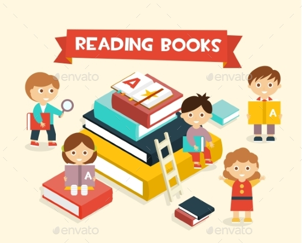 Featuring Kids Reading Books - Miscellaneous Vectors